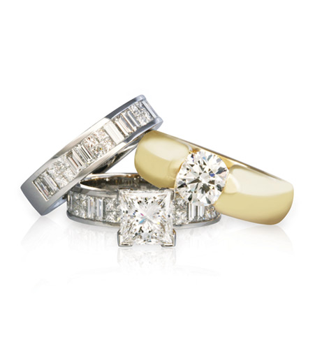 ... -Princess-Cut-Ring-and-Band-18YG-High-Dome-Round-Diamond-Ring.jpg