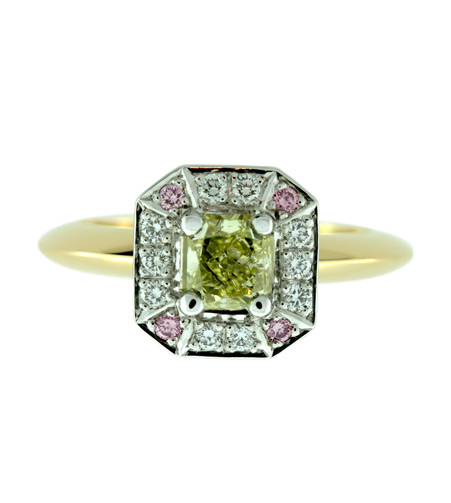Yellow-Radiant-Cut-Diamond-Ring-with-Argyle-Pink-and-White-D
